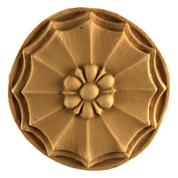 "Colonial Circle Rosette Onlay, 3 7/16""w x 3 7/16""h x 3/8""d"