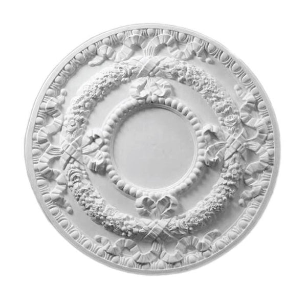 "French Medallion, Plaster, 30 1/2""w x 30 1/2""h x 1 1/4""d"