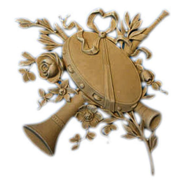 "Louis XVI Musical Instrument Onlay, 10 1/2""w x 11""h x 1/2""d, Made to Order, Not Returnable, MINIMUM ORDER AMOUNT $200"