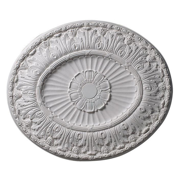 Flutes with Acanthus Oval (3 Center), 32'' x 28'' x 1 5/8'', Plaster, MADE TO ORDER, NOT RETURNABLE