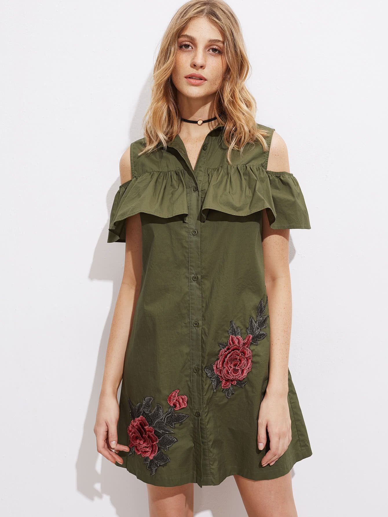 825811fcc580 Open Shoulder Shirt Dress - The Boho Chic Loft
