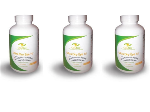 Treat Dry Eye in 30 Days! 6 month auto-ship supply:3 Ultra Dry Eye TG Bottles (180 softgels  or 2 month supply per bottle)