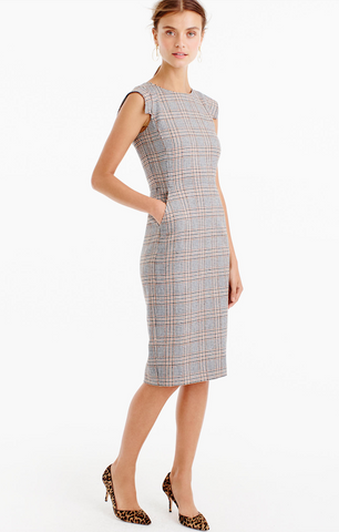 Uwila Warrior, Fall Dresses, J. Crew Cap-Sleeve Dress in Glen Plaid