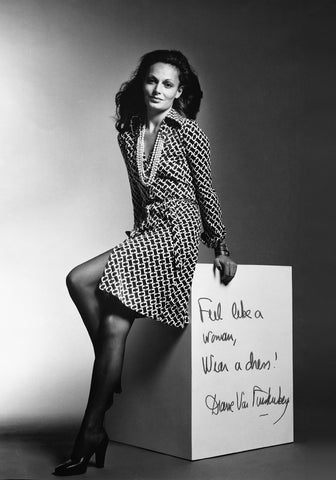 Uwila Warrior woman of the month, Diane von Furstenberg modeling the first ever wrap dress in 1974.