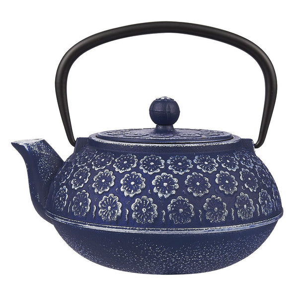 BLUE CAST IRON TEAPOT WITH LOOSE LEAF TEA INFUSER