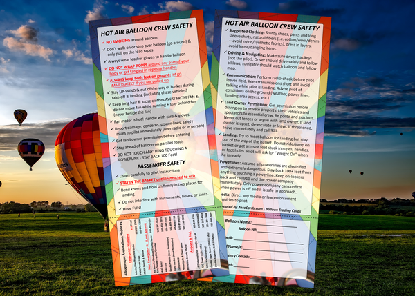 10 Crew & Passenger Safety Cards - Albuquerque Area