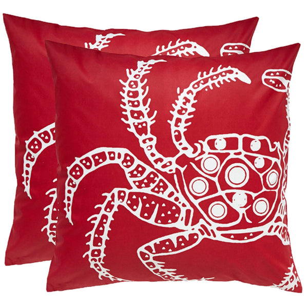Crab Red Outdoor Pillows (Pair)