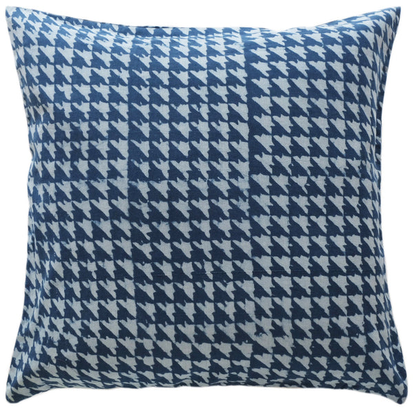 Hounds-tooth Indigo Pillow