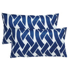 Knottica Navy Lumbar Outdoor Pillows (Pair)