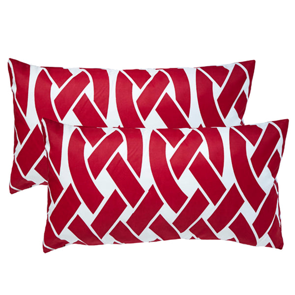 Knottica Red Lumbar Outdoor Pillows (Pair)