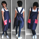 Linen Pinafore - Deep Rose