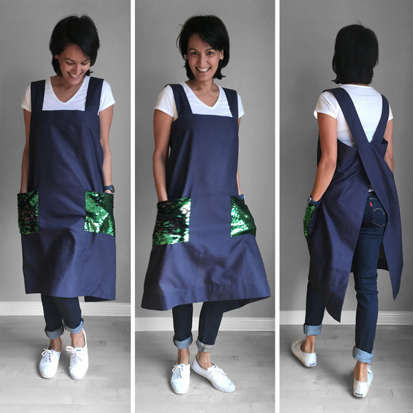 Linen Pinafore - Green Black