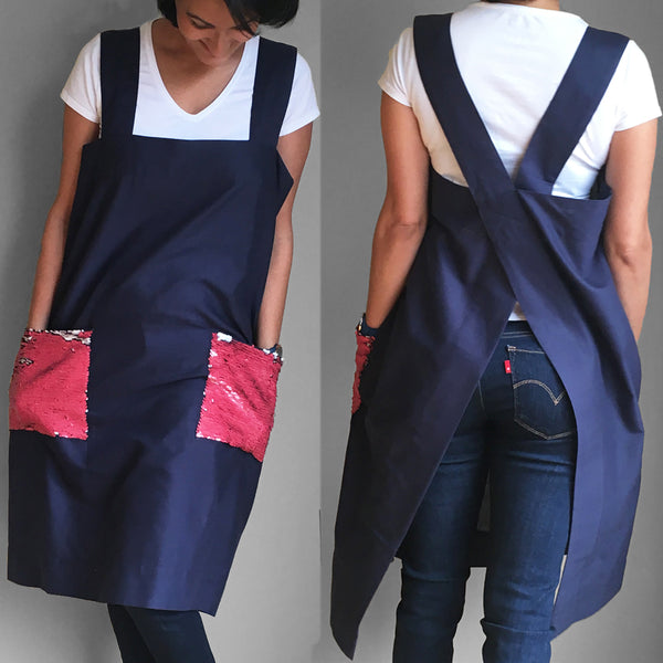 Linen Pinafore - Deep Rose - ALLEM STUDIO