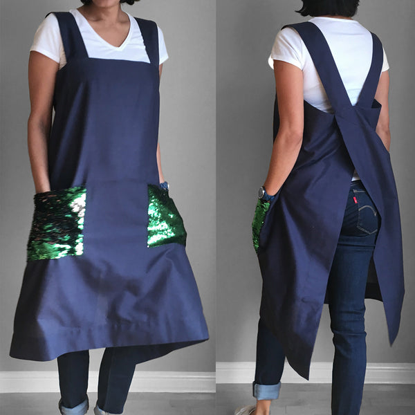 Linen Pinafore - Green Black - ALLEM STUDIO