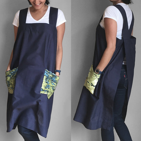 Linen Pinafore - Lime Blue - ALLEM STUDIO