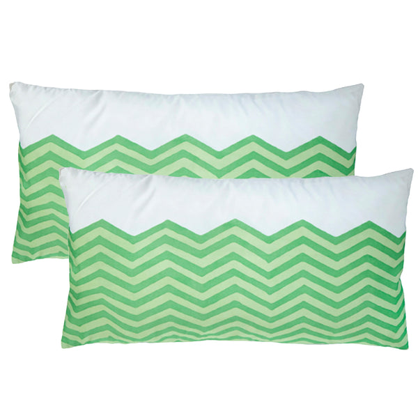 Waves Green Lumbar Outdoor Pillows (Pair)