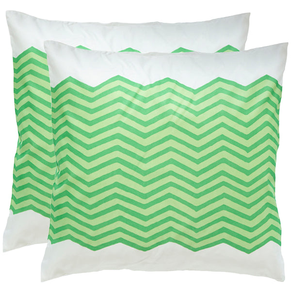 Waves Green Outdoor Pillows (Pair)
