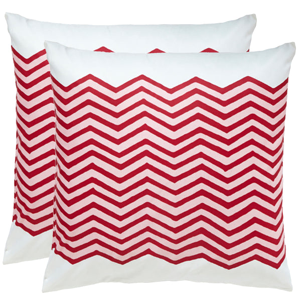 Waves Red Outdoor Pillows (Pair)