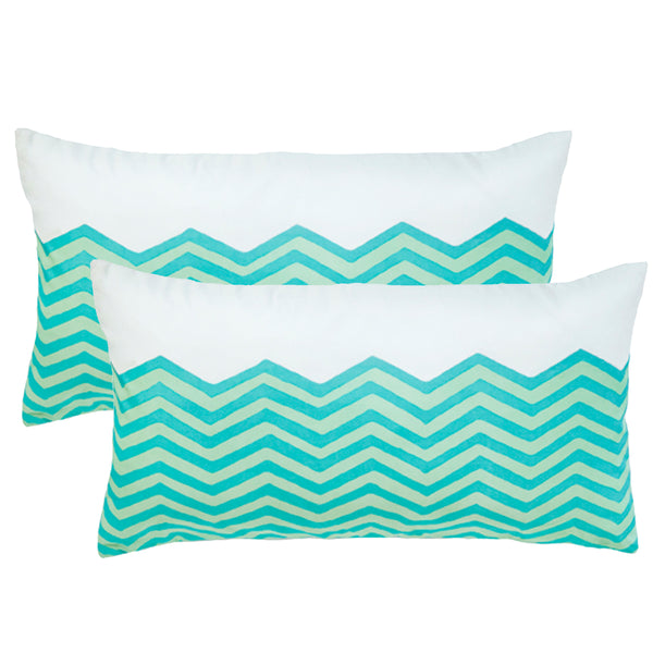 Waves Sky Lumbar Outdoor Pillows (Pair)