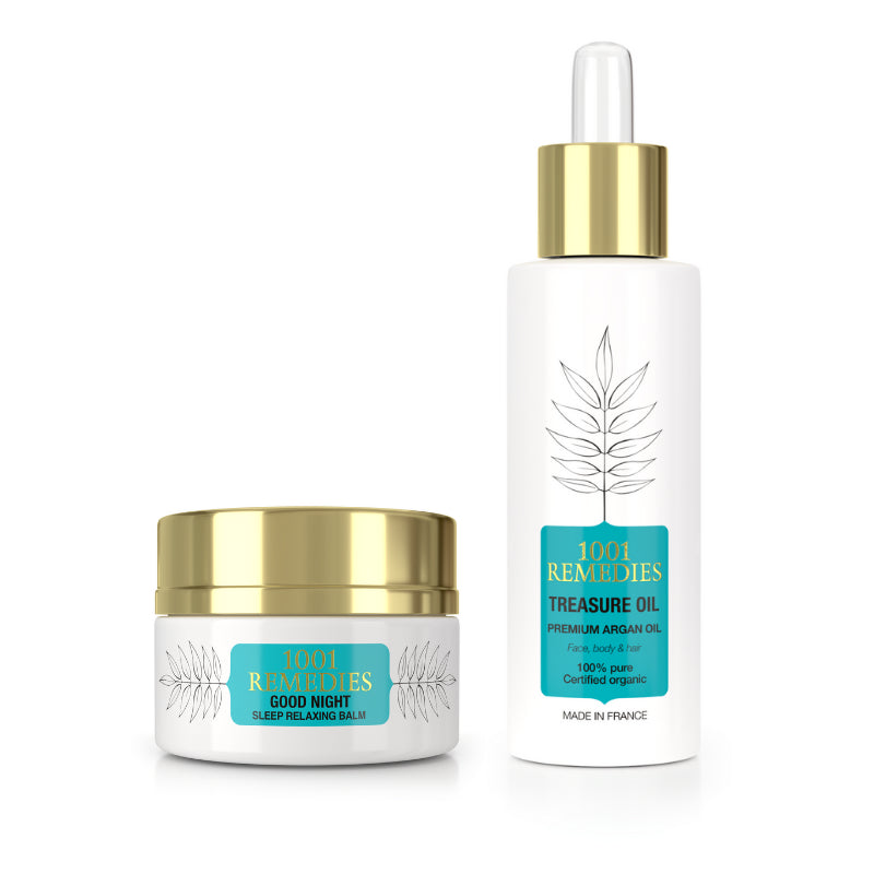 Bath Spa Gift Set - Argan Oil Moisturiser & Sleep Aid for Stress Relief - 1001 Remedies