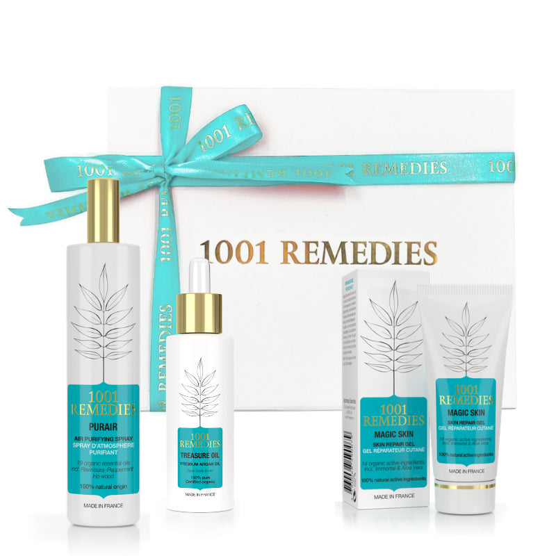 Spa Gift Set with Acne Moisturiser, Argan Oil for Hair & Natural Air Freshener - 1001 Remedies
