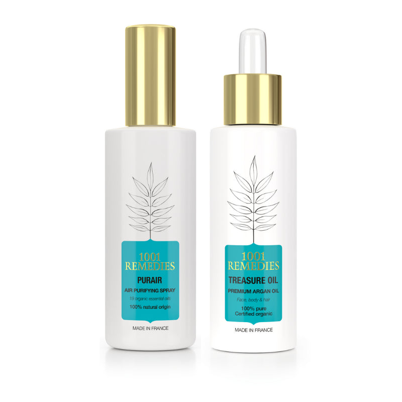 Travel Essentials Gift Set - Lavender Pillow Spray & Cold - Pressed Argan Oil for Hair and Body - 1001 Remedies