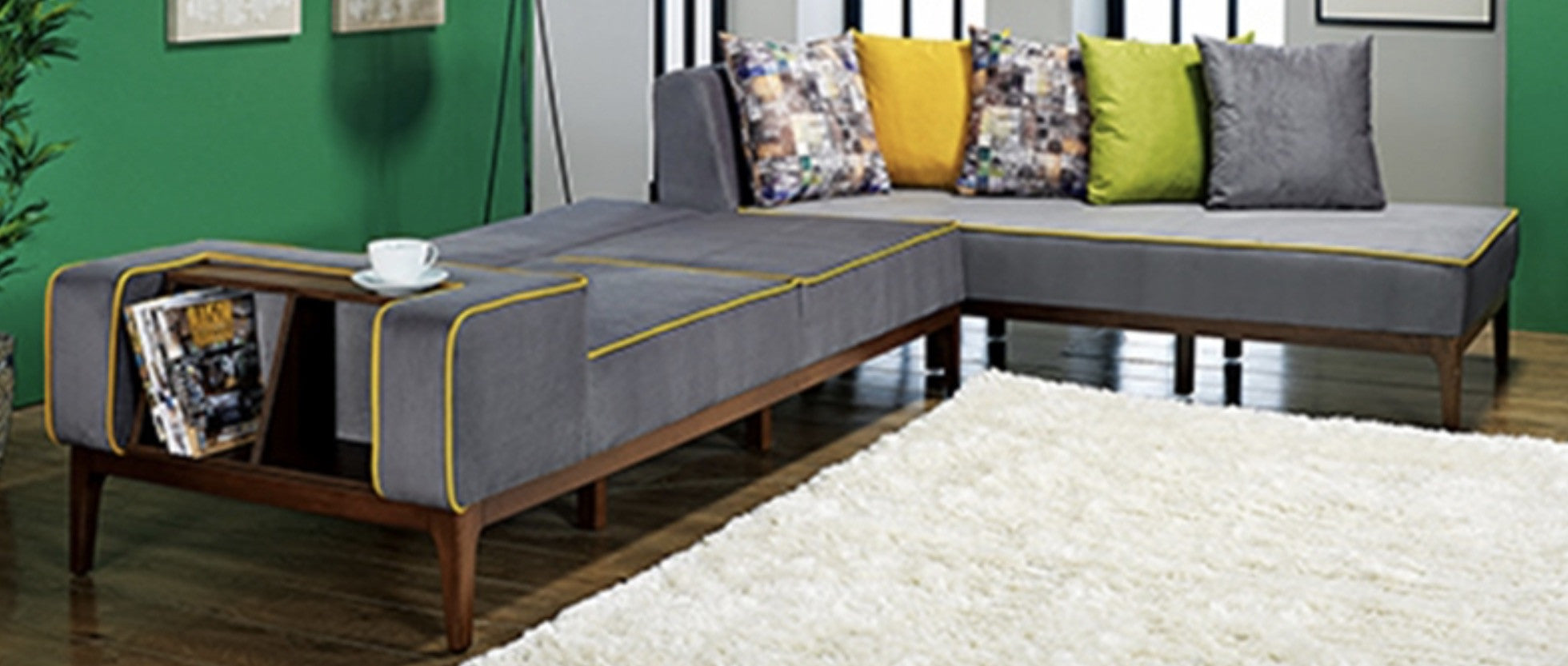 Marbel Sectional Sofa Couch Sleeper - Retro Look - Gray