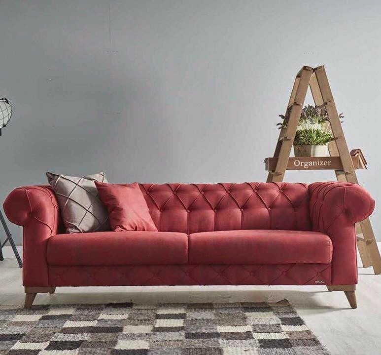 Verona Loveseat & Sofa Bed | Sofa Bed Sleeper | Tufted Design | Bordeaux Red