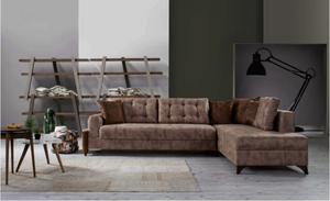 Barcelona | Sectional Sofa Bed |Dark Brown | Tufted Design