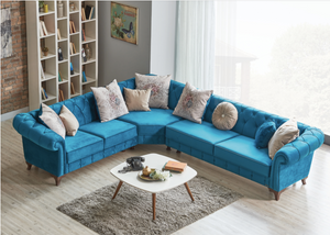 Golden Palace Sofa Corner Sectional | Blue | Sofa Bed