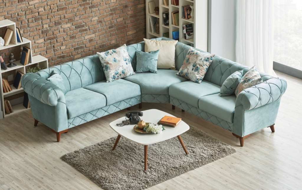 Verona Corner Sectional Sofa Chaise | Mint Green | Sofa Bed