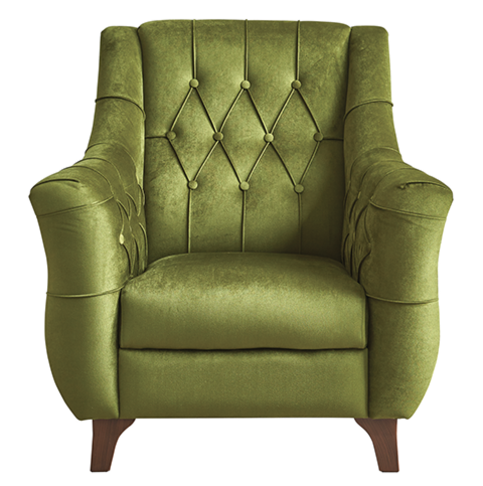 Bianca Retro Tufted Design Accent Arm Chair - Green