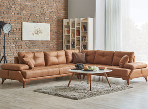 Capella Reclining Sectional Sofa Chaise | Brown | Sofa Bed