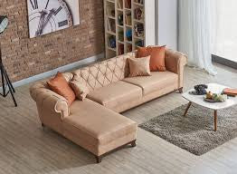 Casablanca Sectional Sofa Chaise | Beige Tan | Sofa Bed