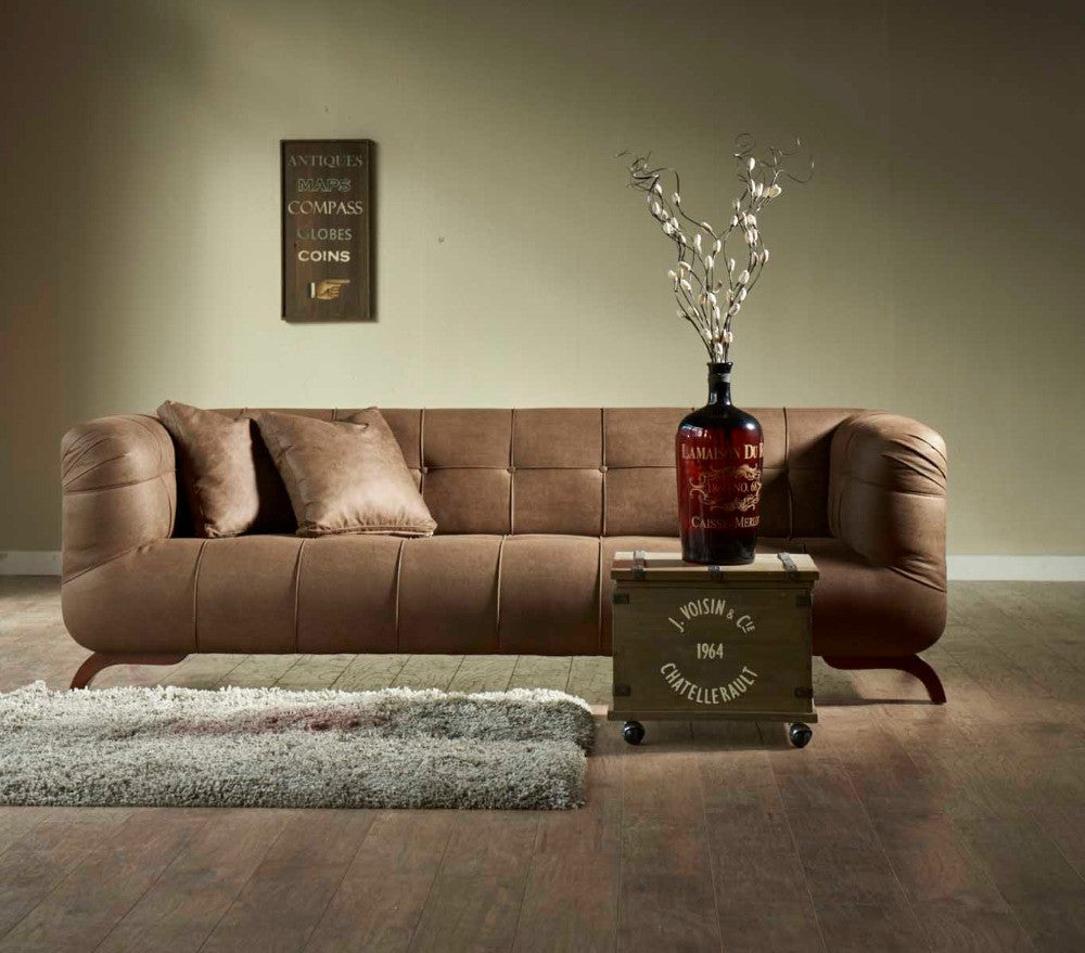 Fusion Designer Sofa | Arm Chair | Loveseat | Brown Mid Century Style | Tufted