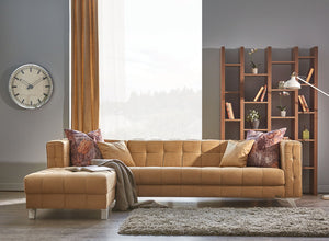 Miranda Sofa Chaise Sectional | Tan Beige | Sofa Bed