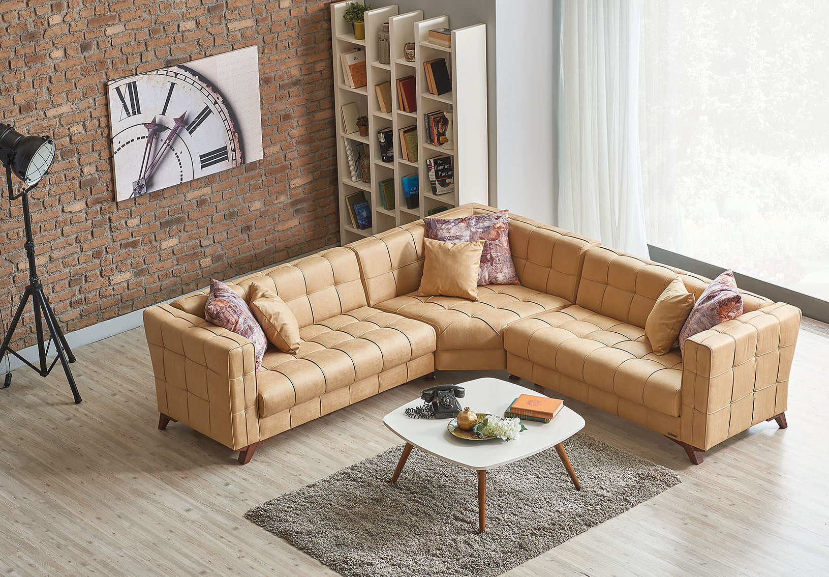 uptown sectional sectionals rooms almond living couch couches discount tan sofas american freight fabric sofa