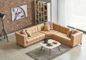 Miranda L Shaped Tufted Corner Sectional Sofa | Beige Tan | Sofa Bed