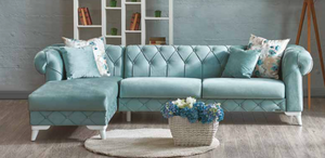 Verona Sofa Chaise Sectional | Aqua Blue | Sofa Bed + Yellow Chair