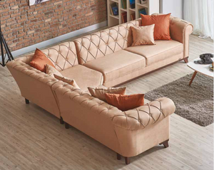Golden Palace L Shaped Tufted Corner Sectional Sofa | Beige Tan | Sofa Bed