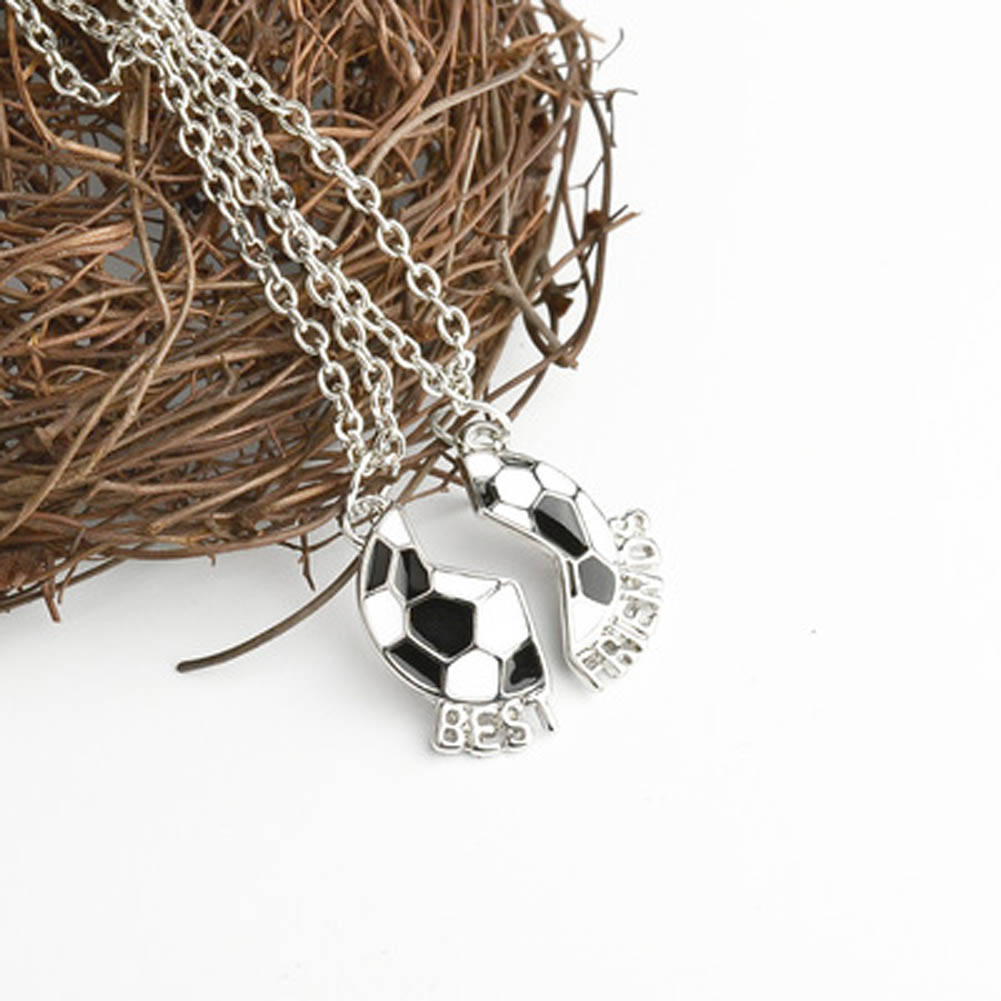 Best Friends Forever Split Soccer Ball Necklaces