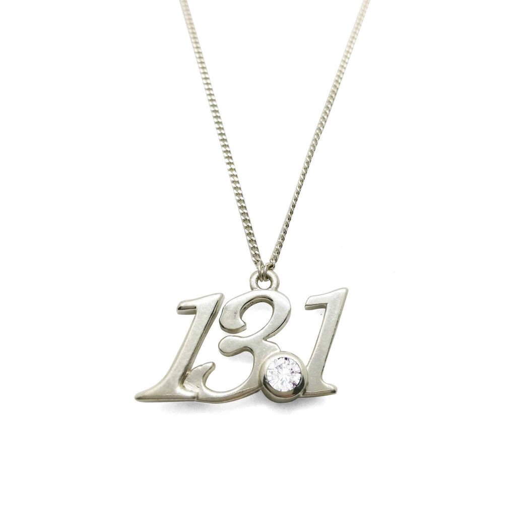 13.1 Half Marathon Pendant Necklace with Zirconia Onyx