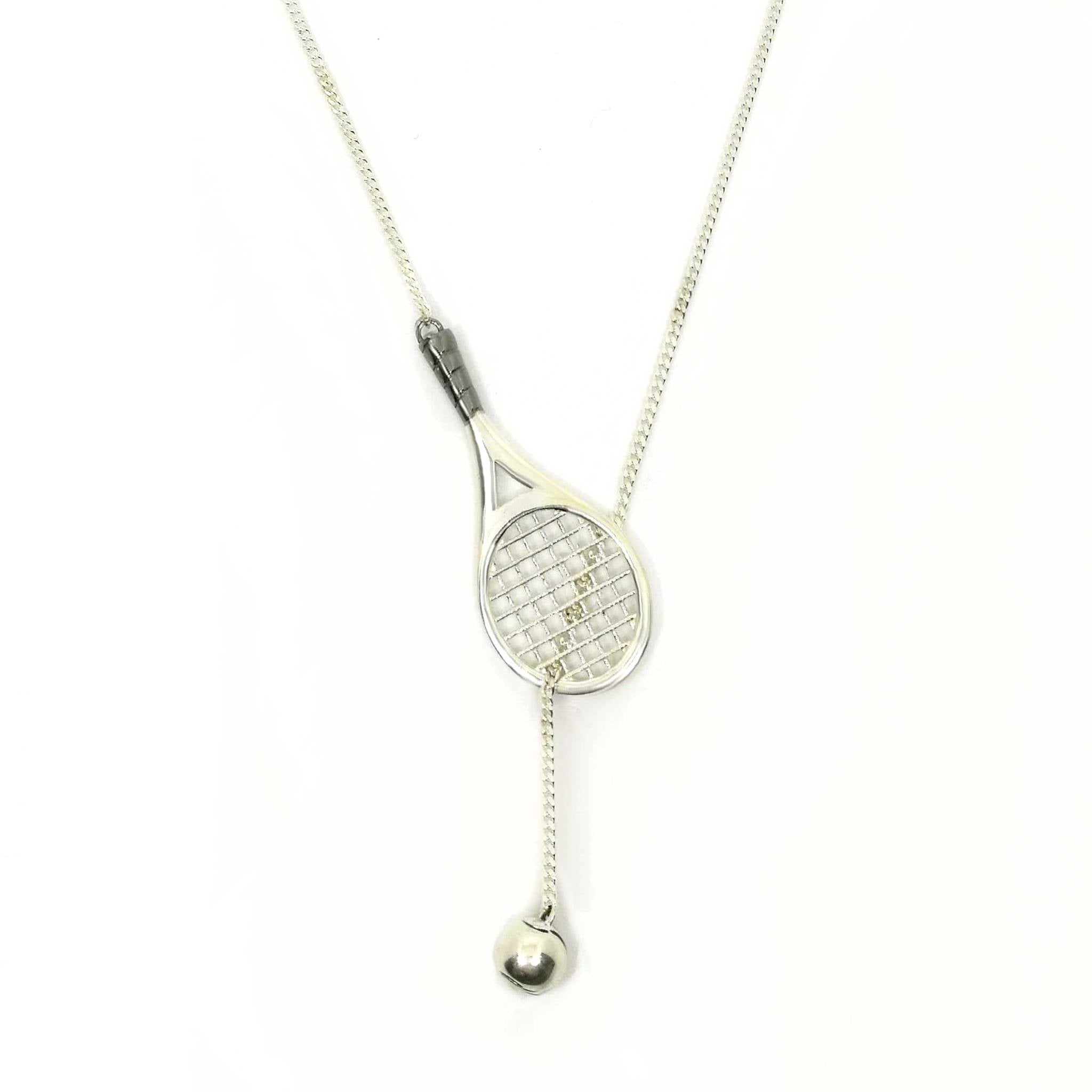 Sterling silver tennis racket and ball pendant necklace survive sterling silver tennis racket and ball pendant necklace mozeypictures Gallery