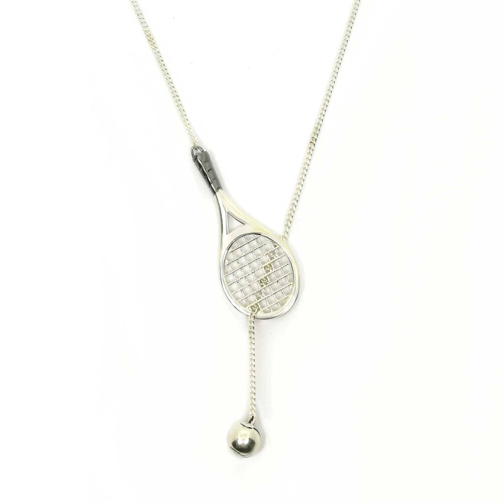 Sterling Silver Tennis Racket and Ball Pendant Necklace