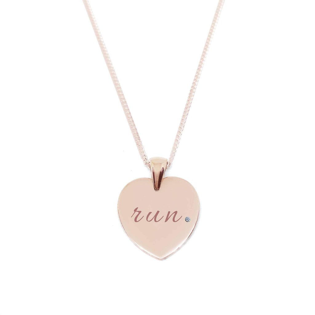 """Run"" Heart Medallion Necklace with Zirconia Stone"