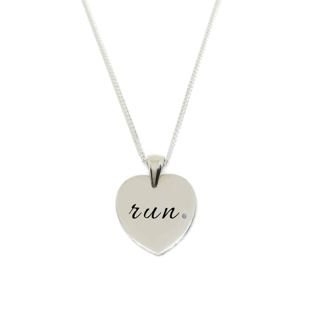 """Run"" Heart Pendant Necklace with Zirconia Stone- 20% Off Offer"