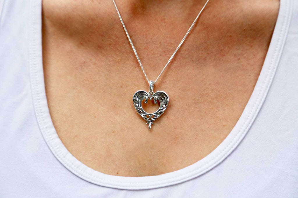 Celtic Horse Heart Sterling Silver Pendant Necklace- 20% Off Offer