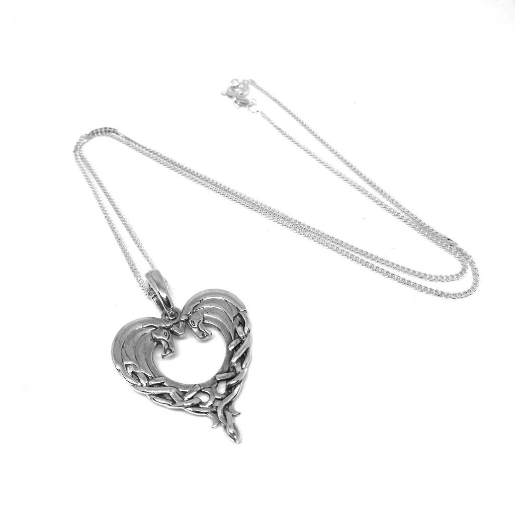 Celtic Horse Heart Sterling Silver Pendant Necklace