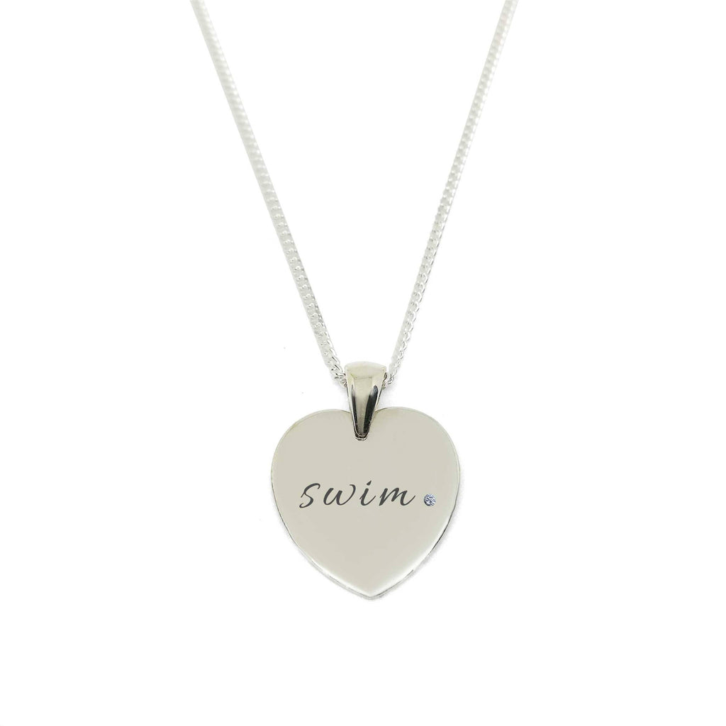 """Swim"" Heart Medallion Necklace with Zirconia Stone"