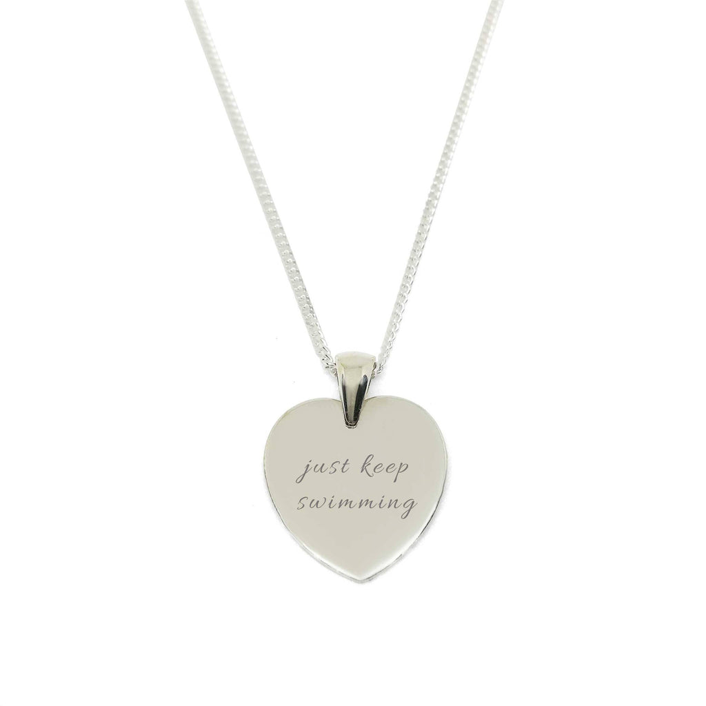 """Just Keep Swimming"" Heart Medallion Necklace"